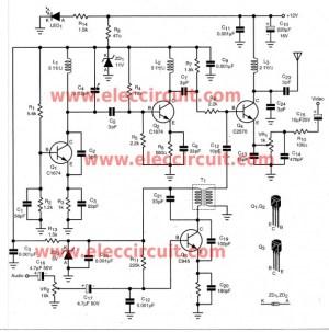 DIY wireless audio video sender circuit  ElecCircuit