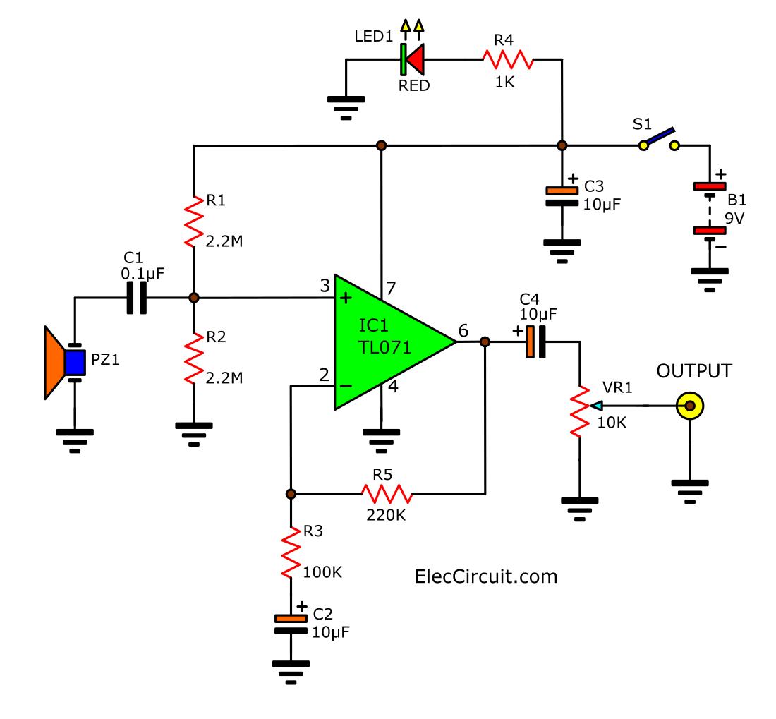 Acoustic Guitar Pickup Circuit Using Tl071