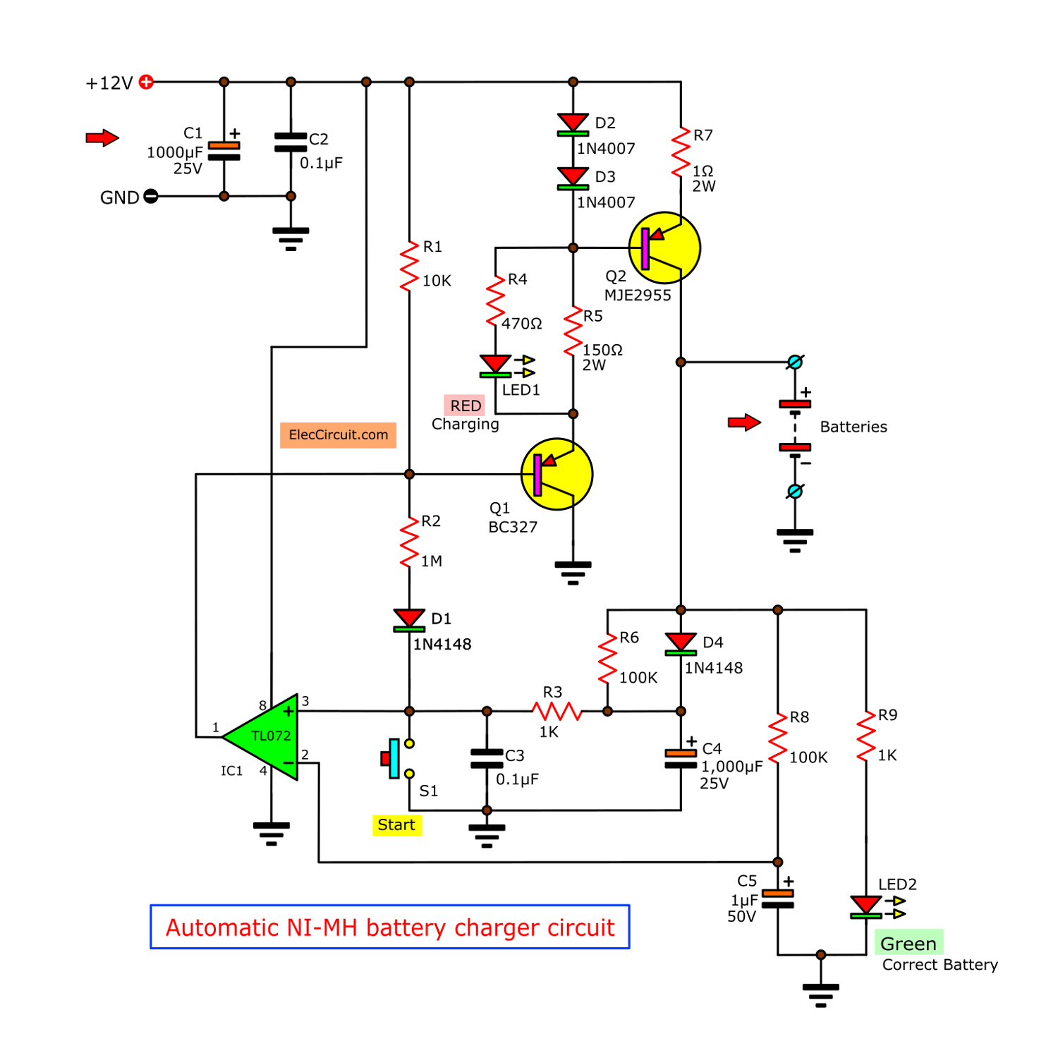 Automatic Nimh Battery Charger Circuit