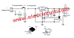 Power bank mobile charger circuit using LM1086 Eleccircuit