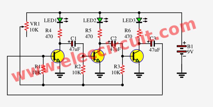 3 Led Flasher Circuit Using Astable Multivibrator