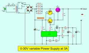 030V Variable Power Supply circuit Diagram at 3A