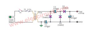 Simple AC to DC converter 9VAC to 35VDC | ElecCircuit