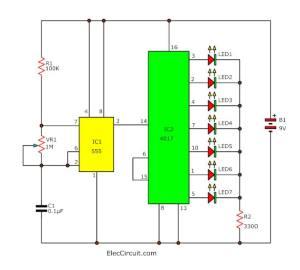 Simple LED light sequencer circuit diagram | ElecCircuit