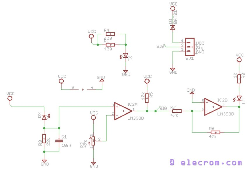 IR sensor module schematic   Embedded Electronics Blog on thermocouple schematic, induction coil schematic, proximity sensor schematic, ultrasonic sensor schematic, ph sensor schematic, led schematic, pir sensor schematic, motion sensor schematic, backlight inverter schematic, capacitive sensor schematic, pulse generator schematic, speaker schematic,