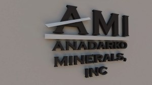 3D rendering of a wall sign for Anadarko Minerals.