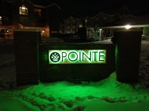 Channel letter monument sign for The Pointe.