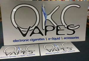 Full sized picture of a digitally printed sign face for OKC Vapes in Norman, Oklahoma.