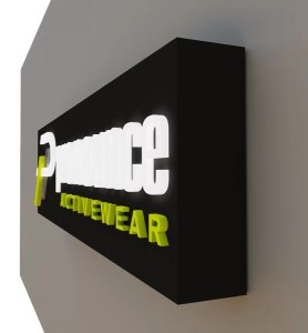 3D rendering of side of Pronounce Activewear sign Designed by Electremedia.