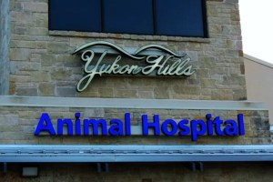 Picture of outdoor signs on front of animal hospital.