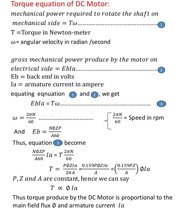 torque-equation-of-dc-motor