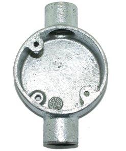 Through Metal Conduit Box 20mm Galvanised Front