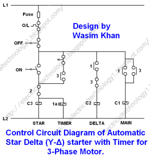 Star Delta Starter  (YΔ) Starter Power, Control and
