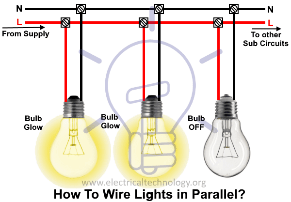 how to wire lights in parallel switches  bulbs connection