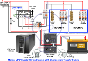 Manual & Auto UPS  Inverter Wiring Diagram with