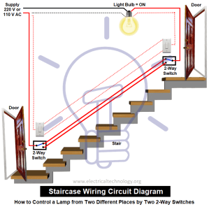 Staircase Wiring Circuit Diagram  How to Control a lamp