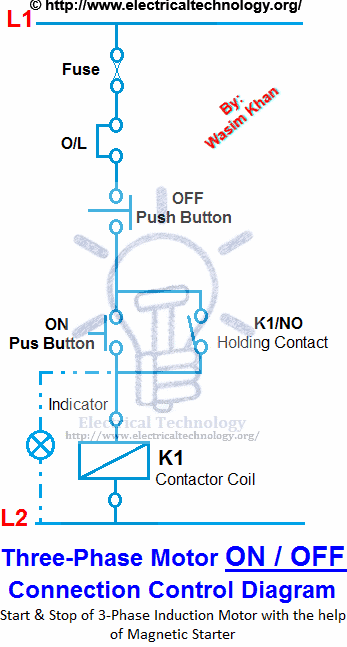 on / off threephase motor connection power  control