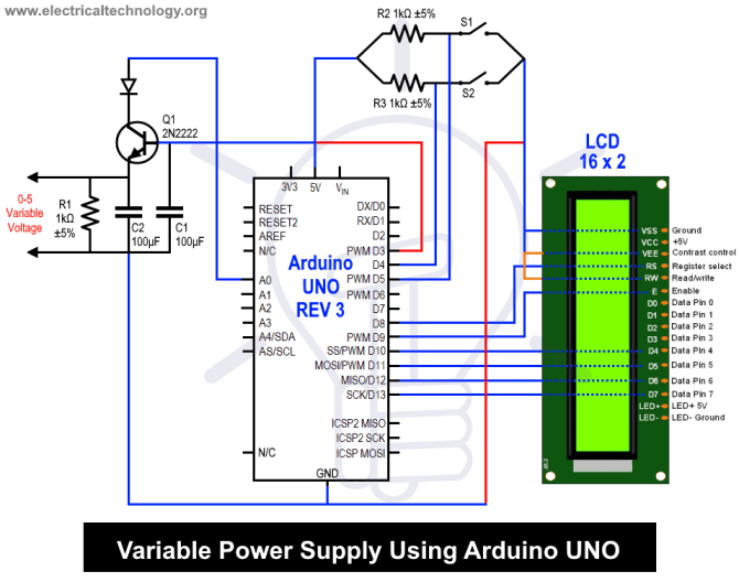 variable power supply using arduino uno  circuit and source