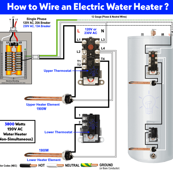 how to wire 120v water heater thermostat  nonsimultaneous
