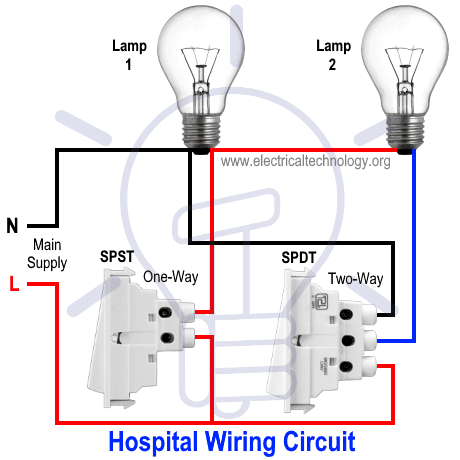 hospital wiring circuit for light control using switches