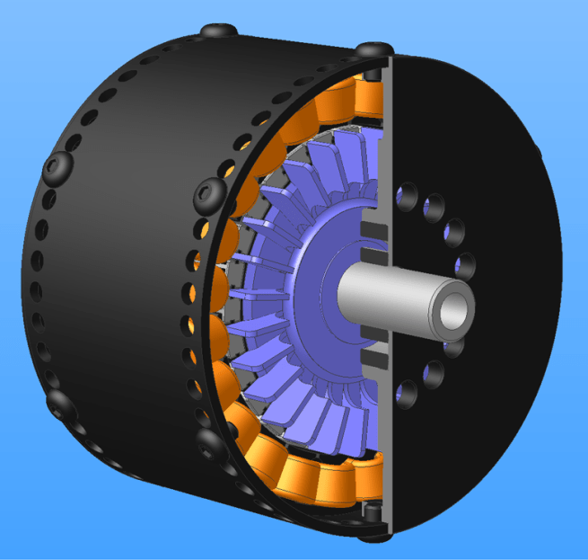 A computer simulation has indicated this 90mm diameter brushless inrunner will achieve a 90% efficiency.