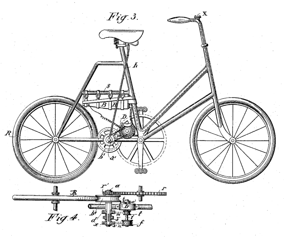 The 1900 Hansel patent also includes this step-through frame with a friction drive.