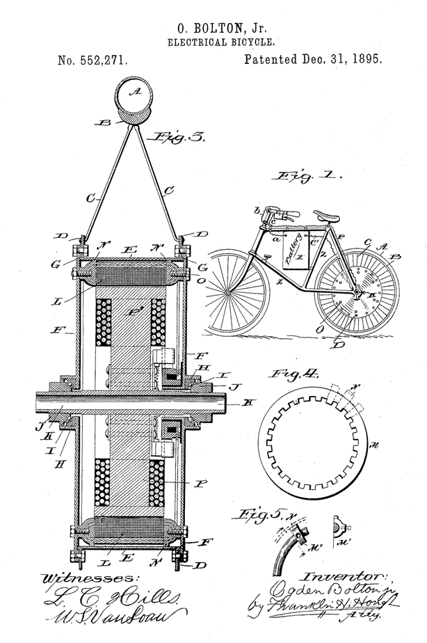 Electric Bike History, patents from the 1800's Patent2