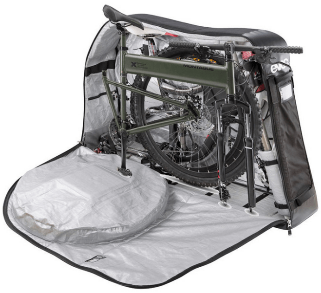 The Montague Paratrooper bicycle in the folded position, with it's travel bag.