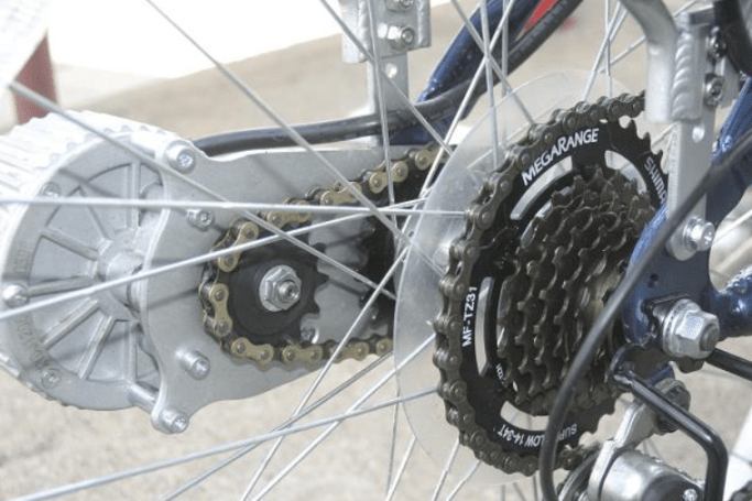 Here's a close-up of the external motor and the chain that connects it to the rear wheel.
