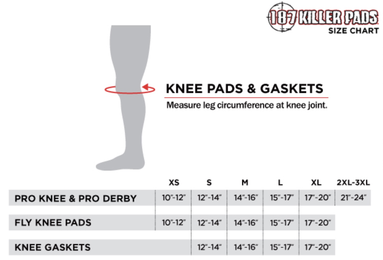 Electric Skateboard Knee Pad Sizing Chart