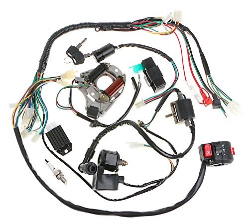 minireen full wiring harness loom kit cdi coil magneto kick start engine  for 50cc 70cc 90cc 110cc 125cc atv quad bike buggy go kart pit dirt bikes