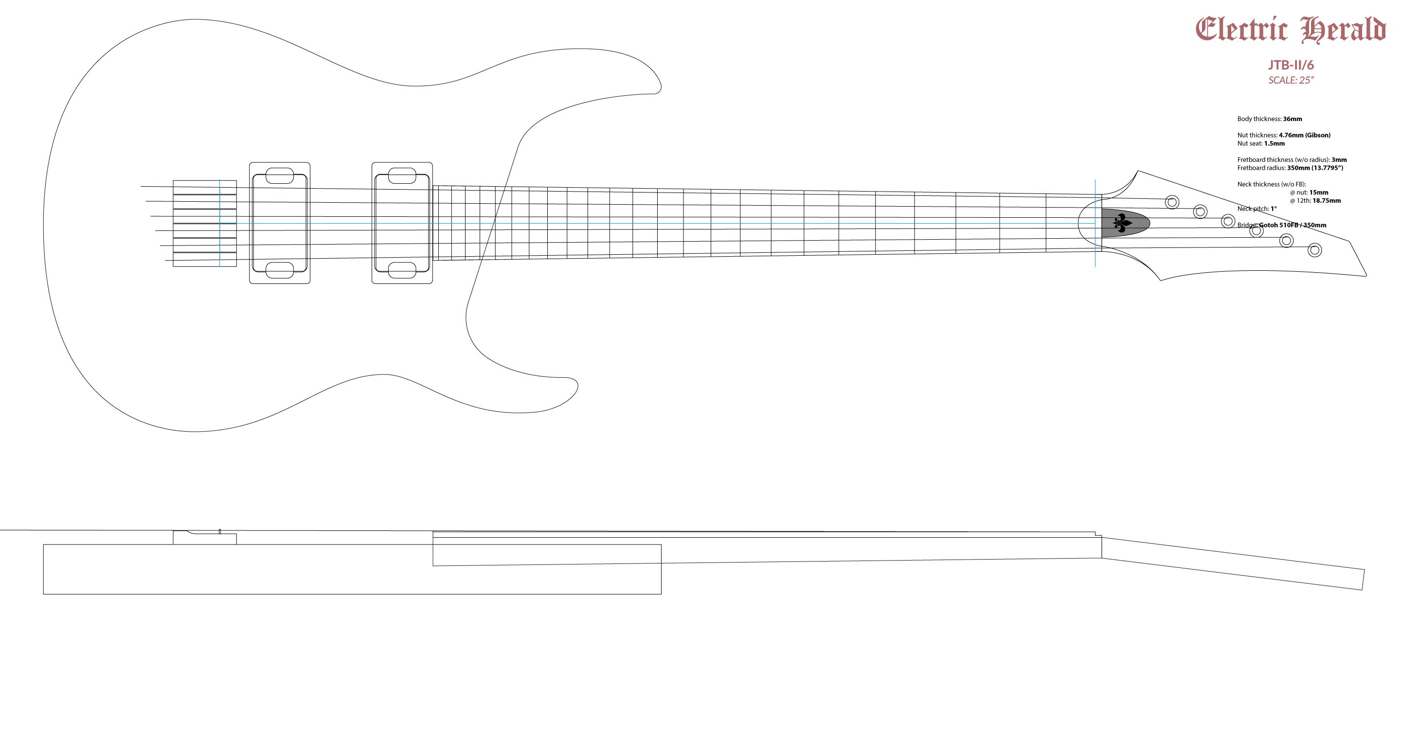 Jtb Ii Free Cad Files For An Original Guitar Model