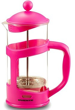 Ovente French Press Cafetière Coffee and Tea Maker, Heat-Resistant Borosilicate Glass, 34 oz (1005 ml), 8 cup, Pink (FPT34F), FREE Measuring Scoop