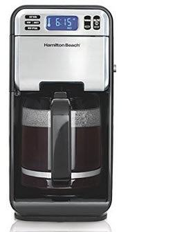 Hamilton Beach 46205 12-Cup Programmable Coffee Maker, Stainless Steel Black
