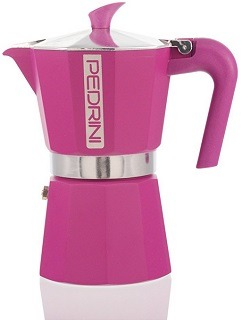 Pedrini Italy Colours Collection Stovetop Moka Espresso Maker with Italian EN601 Aluminium and Saftey Valve, Pink, 2 cup