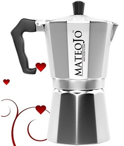 Stovetop Espresso Maker - Italian Moka Pot - Cafetera - Cuban Coffee Machine - 6 Cup by MateoJo