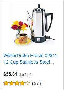5 WALTERDRAKE PRESTO 12 CUP COFFEE MAKER