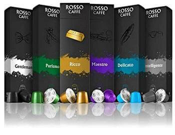 Rosso Coffee Capsules for Nespresso Original Machine - 60 Gourmet Espresso Pods Variety Pack