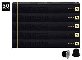 Nespresso Ristretto OriginalLine Capsules, 50 Count Espresso Pods, Intensity 10 Blend