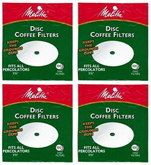 12 Melitta 3.5 Inch White Disc Coffee Filters (Pack of 4)