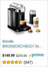 Breville BNV250CRO1BUC1 Vertuo Coffee and Espresso Machine
