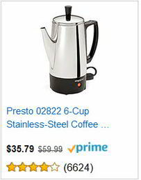 Presto 02822 6-Cup Stainless-Steel Coffee maker