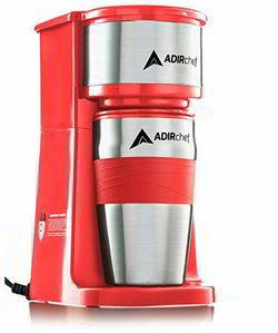 1A AdirChef Grab N' Go Personal Coffee Maker with 15 oz. Travel Mug (Red)