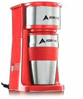 AdirChef Grab N' Go Personal Coffee Maker with 15 oz. Travel Mug (Red)