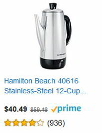 Hamiliton Beach 40614 Stainless Steel 12-Cup Electric Percolator