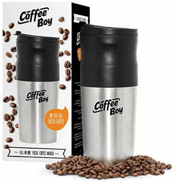 5 Coffee Boy All-in-One Portable Coffee Maker, with Rechargeable Electric Ceramic Coffee Grinder