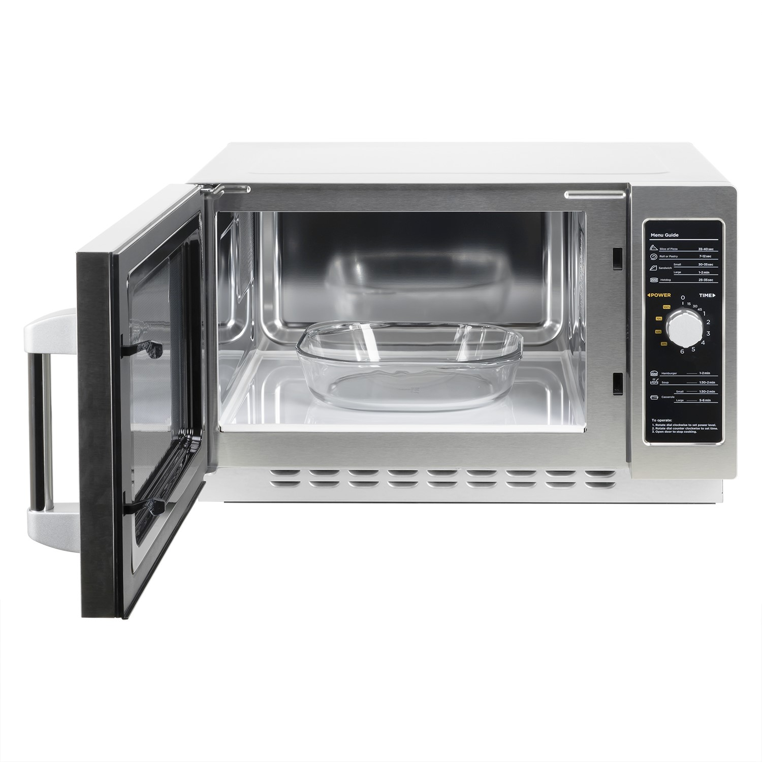 grade a1 electriq 34l 1000w flatbed commercial heavy duty freestanding microwave in stainless steel