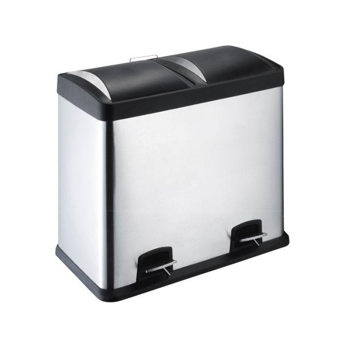 poubelle inox tri selectif 2x30l
