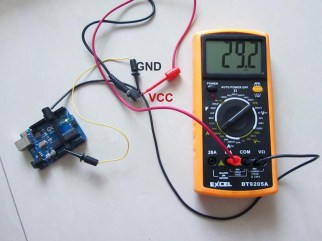 From USB Power, VCC on the end of the DC jack