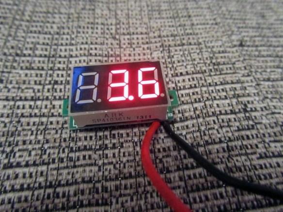 3.6V, should 3.7V when full charged :D